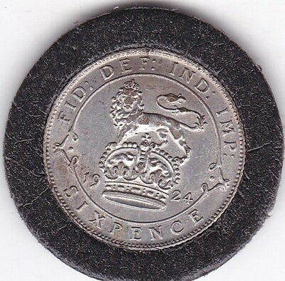 Sharp  1924  King  George  V  Sixpence  (6d)  Silver  (50%)  British  Coin