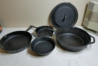 Lot of 4+ Lid Lodge Cast Iron Antique Skillet Frying Pan