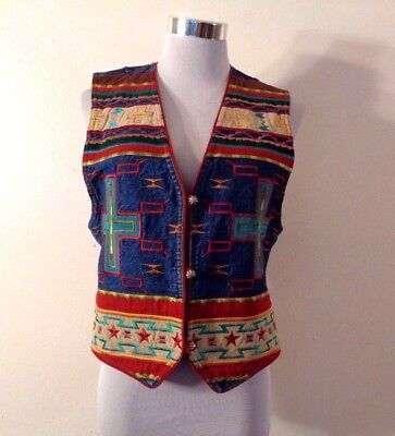90s HAIRSTON & ROBERSON ROPA BLUE DENIM NATIVE AMERICAN EMBROIDERED VEST SZ S