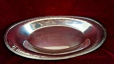 APOLLO SILVER / BERNARD RICE'S SONS BRS Antique Oval Hammered Bread Tray  EPNS