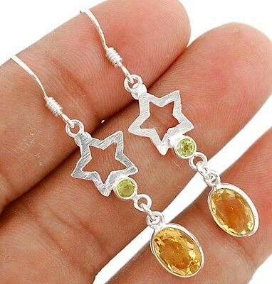 """2CT Citrine 925 Solid Sterling Silver Earrings Jewelry 1 7/8"""" Long"""