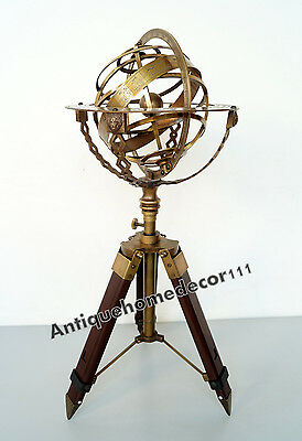 Antique Large Engraved Brass Armillary Nautical Sphere Globes World Tripod Stand