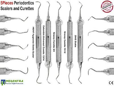 5Pcs Perio Curettes Columbia Calculus Removal Scalers Dental Periodontal Tools