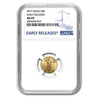 2017 Gold Eagle 1/10 $5 Ngc Ms 69 Early Release
