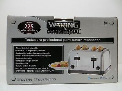 Waring WCT708 Commercial Toaster Chrome 4 Extra Wide Slot