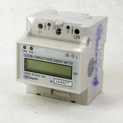 30(100A) 230V 50hz Single Phase DIN-rail Type Kilowatt Hour kwh Energy Meter