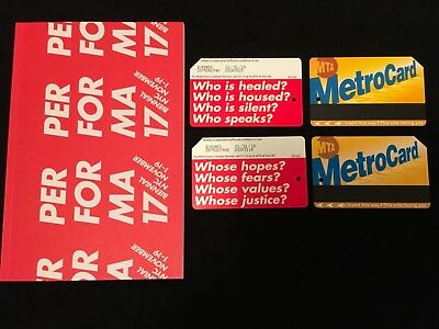 Barbara Kruger Metrocard NYC MTA Set of 2 Performa 17 Event Program Biennial NY