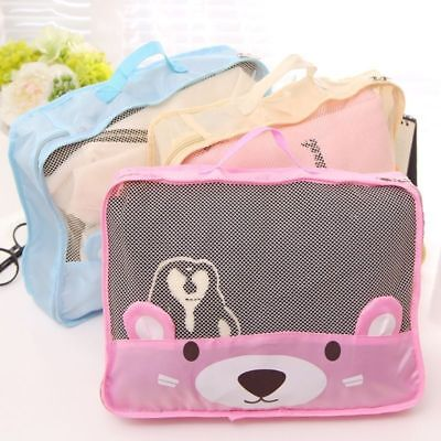 Cute Bear Travel Storage Bags Clothes Packing Cube Luggage Organizer Mesh Pouch : travel storage bags for clothes  - Aquiesqueretaro.Com