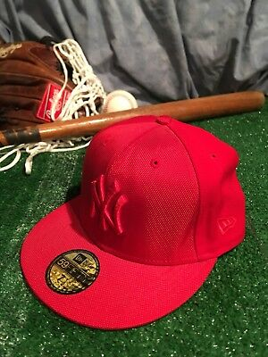 5640d1c7628 New York Yankees New Era 7 1 8 Retro MLB Baseball Hat Cap Red Rare
