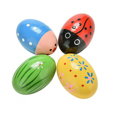 Wooden Sand Eggs Children Kids Baby Educational Instruments Musical Toy GW