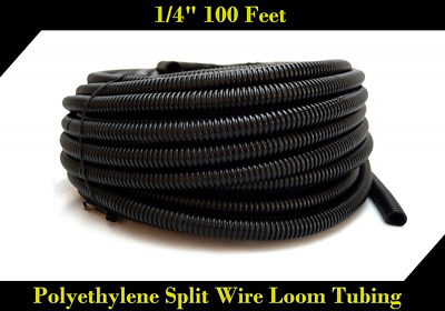 """100 FT 1/4"""" INCH Split Loom Tubing Wire Conduit Hose Cover Auto Home Marine Blac"""