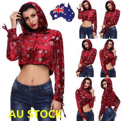 Women Christmas Snowflake Velvet Hooded Sweater Pullover Party Strappy Crop Tops