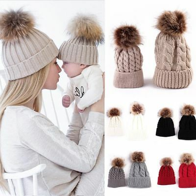 2PCS Winter Warm Mom+Newborn Baby Boy Girl Hats Crochet Knit Hairball Beanie Cap