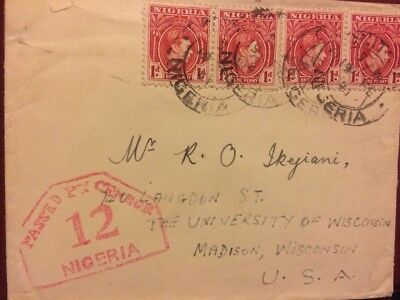 1941 Nigeria Cover Wwii Censored  To Madison , Wisconsin Usa Multi-Frank