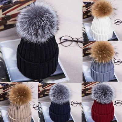 UK Large 15cm Ball Women Hat Winter Faux Fur Pom Knit Beanie Ski Cap Bobble Hats