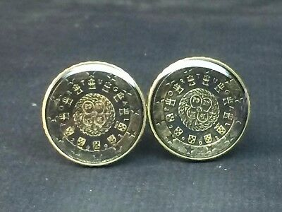 Portugal coin cufflinks EURO 10cents 20mm
