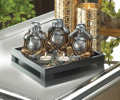 Speak, Hear, See No Evil Sitting Silver Buddha's Garden Candle Holder w/ Stones