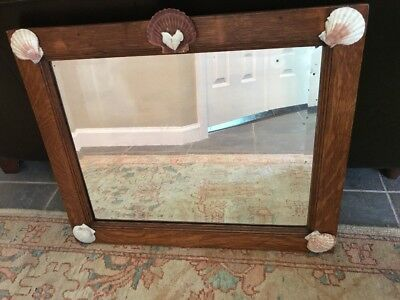 "Antique vintage wood Tiger Oak Beveled wall Mirror With Sea Shells 23.5"" X 19.5"""