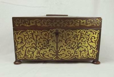 Regency Rosewood And Boulle Work Tea Caddy