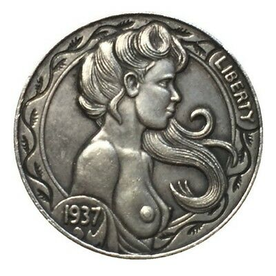 Hobo Nickel coin 1937-D 5 Cent Cow Zombie Skeleton Naked Girl Topless Pressed