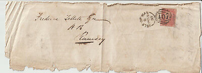 "Isle Of Man - 1858 Front  ""isle Of Man/407"" Sideways Duplex -Rare"