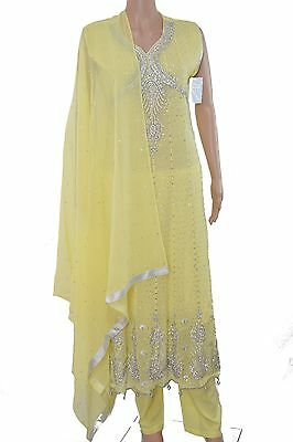 3 Pc Design Crystal Embroidery Maxi Indian, Pakistani Suit Size L 16-18 UK