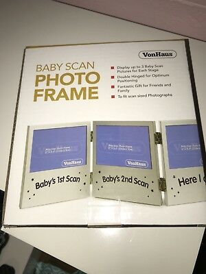 VonHaus Triple Picture Frame for Ultrasound/Sonogram Images and Baby Photo