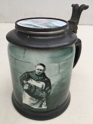 Antique Old O'Hara Dial Co Lidded Stein Waltham Mass Monk Grants Tomb NY Paris