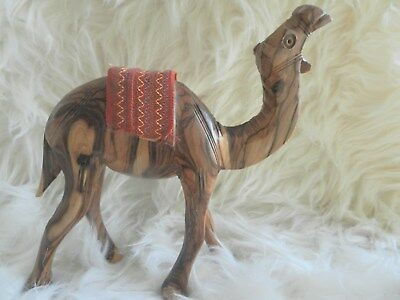 Beautiful Unique Vintage Hand Carved .SOLID WOOD   Camel  Wooden Animal