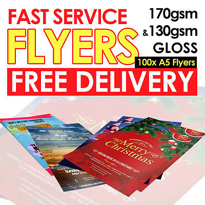 100 x A5 Leaflet Flyer Poster Full Colour Printing