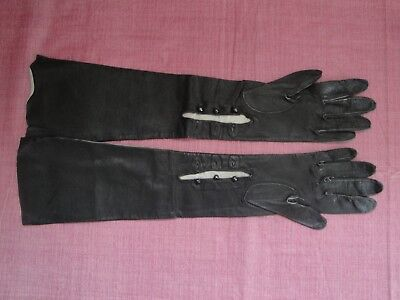 """Vintage Black Soft Leather Opera Gloves - 19.25"""" Long with 3 Buttons at Wrist"""