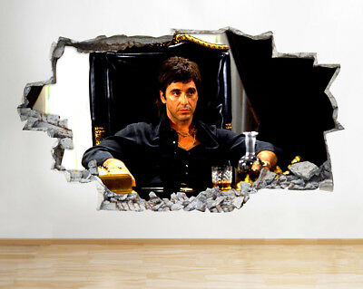 M255 Scarface Whiskey Living Hall Smashed Wall Decal 3D Art Stickers Vinyl Room  sc 1 st  PicClick UK & M255 SCARFACE WHISKEY Living Hall Smashed Wall Decal 3D Art Stickers ...