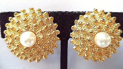 """Stunning Vintage Estate Textured Faux Pearl Clip 1"""" Earrings!!! 7995Y"""