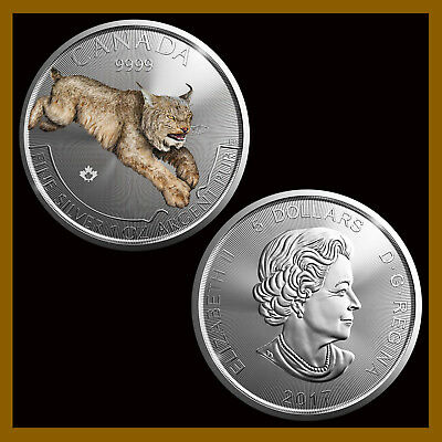 Canada $5 Dollars Silver Coin, 1 oz 2017 Lynx Cat Colored (Color) PREDATOR BU