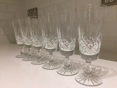 6 Vintage Champagne Flutes Glasses Lead Crystal Cut Glass Set Drinking Quality