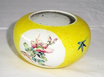 19C Chinese Daoguang Yellow Glaze Bush-wash w. Floral Reserve Panels (Yir)