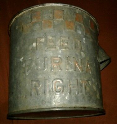 Vintage PURINA Feed Right ~ 1 Gallon Dry Measure Galvanized Metal Feed Bucket
