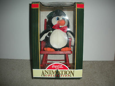 Coca-Cola Brand Animation Collection Penguin On Rocking Chair, New In Box