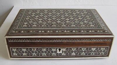 Fine Old Indian Carved Wood Marquetry Geometric Stars Decorated Jewelry Box