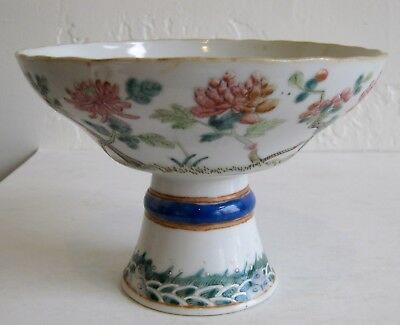 Fine Old Chinese Enamel Painted Porcelain Peonies Flowers Decorated Raised Bowl
