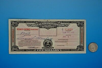 $5 SERIES of 1939 POSTAL SAVINGS SYSTEM CERTIFICATE - Dated 1953 LOS ANGELES, CA