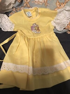 VINTAGE 195O'S mid century KATE GREENAWAY FROCK YELLOW CAT DRESS SIZE 2t