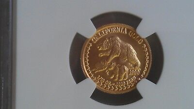 1990 GOLD 1/10 oz. STATE OF CALIFORNIA GRIZZLY BEAR WITH CUB - NGC MS70