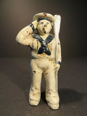 Antique Cast Iron Hubley Painted Small Sailor Man Toy Still Bank