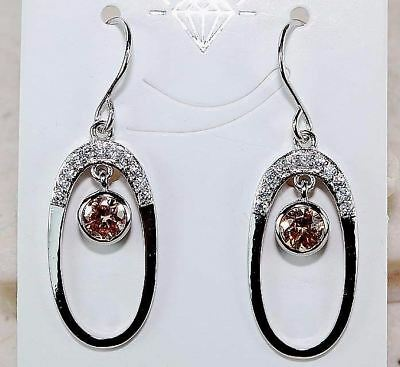 1CT Padparadscha Sapphire & Topaz 925 Sterling Silver Earrings Jewelry, T5-3