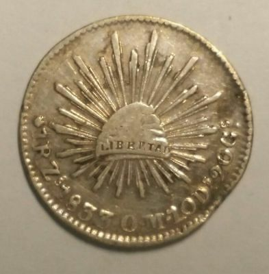 1833 Zs OM  Mexico Silver 1 Real World Coin Free Shipping!