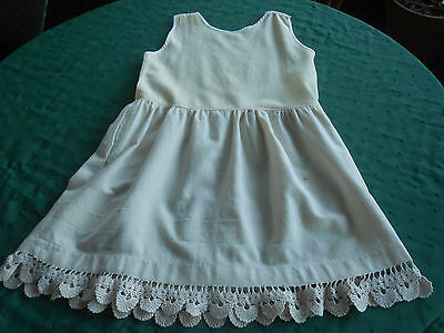 Antique Child's Wool Slip/fantastic Hand Crochet Lace Trim, Early 20Th. Century