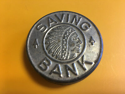 Savings Bank Indian Head Indian Chief Silver Tone
