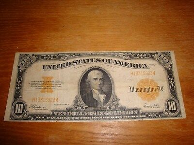1922 $10 Gold Certificate Us Note Gold Seal Banknote