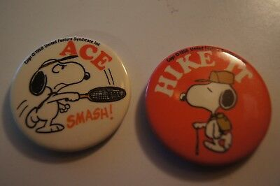 2 Vintage 1958 Snoopy Button Pin Peanuts Gang  Hike It hiking Smash Ace Tennis